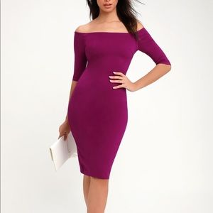 Lulus off the shoulder magenta bodycon dress